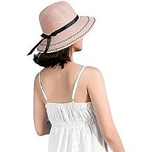Samber Sombreros Paja de Verano para Mujer Sombreros de Playa para el Sol  Gorros con Lazo 88b97151565