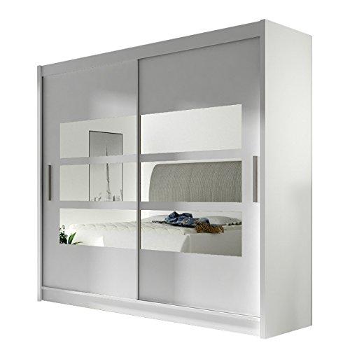 Kleiderschrank mit Spiegel London III, Schwebetürenschrank, Schiebetürenschrank, Modernes Schlafzimmerschrank 180x215x57cm, Garderobe, Schlafzimmer (Weiß) -