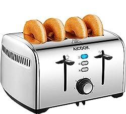 Aicook Toaster, Edelstahl Toaster mit Abnehmbarer Krümelschublade, Defrost Funktion (1700 Watt, bis zu 4 Brotscheiben und 7 Bräunungsstufen), Glatter Edelstahl, Silber