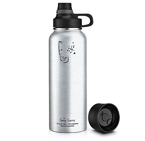 SWIG SAVVY Botella de Agua Aislada, Libre de Bpa, a prueba de Fugas, Boca Ancha, Con una tapas Intercambiables 40 onzas Acero Inoxidable