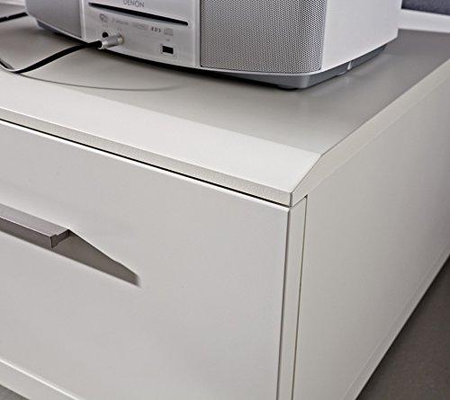 Design Wohnwand 4-teilig, mit Glasvitrinen, – Weiß Mattlack / Esche Grau Nachbildung, Soft Close-Dämpfung, Selbsteinzug, Wohngalerie Zerlegt - 5