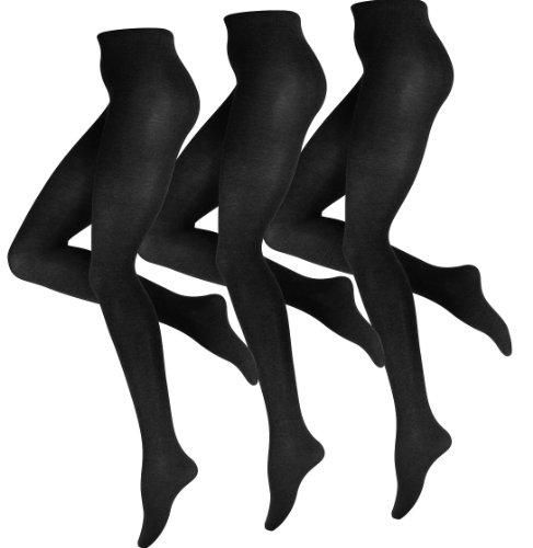 3 Stück Damen Baumwoll Strumpfhose, Strickstrumpfhose in schwarz, braun und anthrazit von Vincent Creation® (Comfort-strumpfhose Nur)