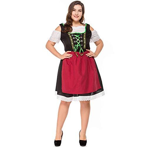 Kostüm Brust Holloween - Leoie Damen Dirndl Trachtenkleid Bayern Oktoberfest Kostüm Halloween Karneval Übergröße Gr. X-Large, Reddish Black