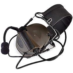 Casque tactique camouflage Comtac II avec réduction de bruit, prise de son électronique, protection auditive et micro, FG, taille unique