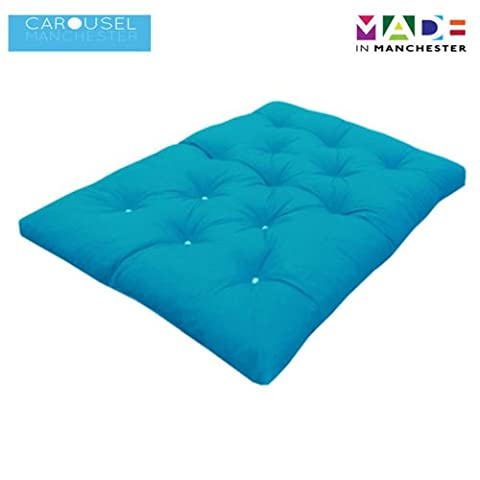 Triple   3 Seater   Memory Foam Futon Mattress   Roll Out Bed   Guest Bed   Light Blue   190cm x 140cm   UK Manufactured   9 Colours Available   3 Sizes Available