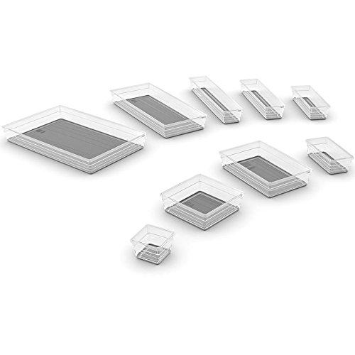 KIS Set Contenitore Organizzazione Spazi 9 pezzi Set Sistemo Grigio Grigio