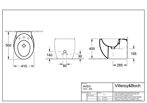 Villeroy & Boch Bidet Aveo 742100 410x560mm Weiß Alpin Ceramicplus, 742100R1