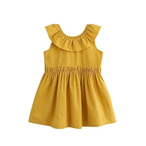 Baby Prinzessin Party Kleid,Hirolan Groß Bogen Ärmellos Tutu Kleider (130, Beige) (Großer Kaninchen Kopf Kostüm)
