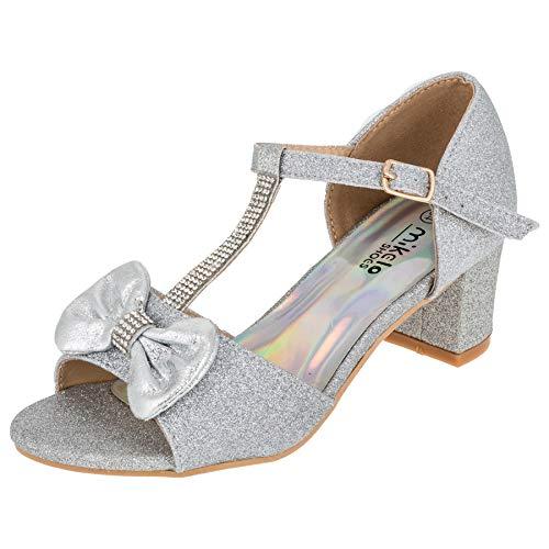 Eleganti Scarpe da Ragazza con Tacco e Cinturino Effetto Glitter, Argento (M568si Silber), 36 EU