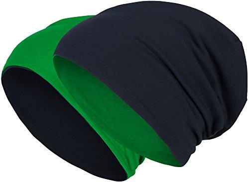2 in 1 Wendemütze - Reversible Slouch Long Beanie Jersey Baumwolle elastisch Unisex Herren Damen Mütze Heather in 24 (8) (Dark Blue/Dark Green) - Blue Green Heather