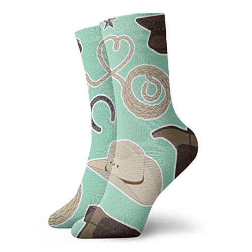 owboy-Thema-Muster-Minze Socken Atmungsaktive Damen Herren bedruckte Baumwolle Flachstrick Crew Sport Athletic Socken 30cm ()