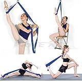 Price Xes Sangle réglable pour étirer les jambes–Facile à installer sur une porte–Pour augmenter la souplesse et pour les étirements des jambes en danse, cheerleading, gymnastique, taekwondo, bleu