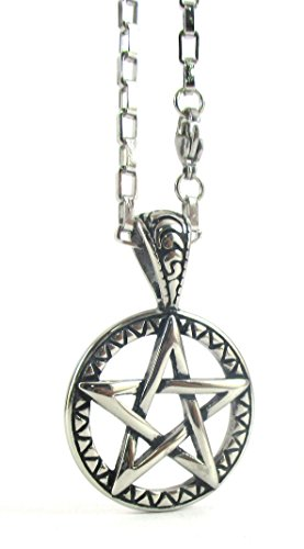 Streetsoul Star Pentagram Stainless Steel 30 inch Chain Pendant Silver Necklace Gift For Men Women