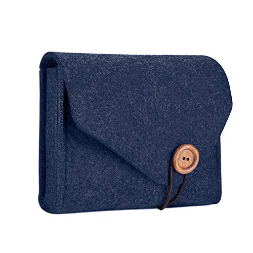 ProCase Felt Aufbewahrungskoffer Tasche, Portable Travel Electronics Zubehör Organizer Tasche für MacBook Laptop Maus Power Adapter Kabel Power Bank Handy Zubehör Ladegerät SSD HHD -Navy Portable Usb-power-kabel