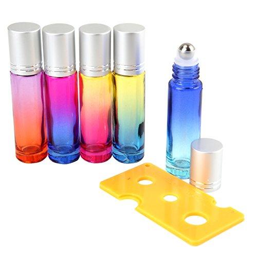 Ätherisches Öl Roller Flaschen, 5er Glas Roller Flaschen 10ml Makeup Sub-Flaschenabfüllung mit Flaschenöffner, Bunten Duft Container Travel Roll auf Flasche für Parfüm Aromatherapie