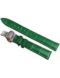 18mm verde de lujo decente reloj de cuero correa de reemplazo banda de cocodrilo grano genuina piel de becerro de las mujeres