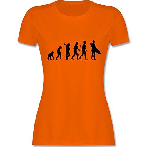Evolution - Surfer Evolution - tailliertes Premium T-Shirt mit Rundhalsausschnitt für Damen Orange