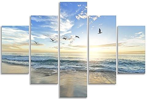 Paysage marin de plage Bleu océan Dawn Oiseaux murale d'art pour le salon de salle de bain Home Decor Tableau Multi Panneau Tableau sur toile 5pièces Cadre Art encadrée