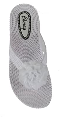 WOMENS WEDGE WEAVE FLIP FLOPS FLOWER BEACH SUMMER SANDALS LADIES SHOES WHITE SIZE 6