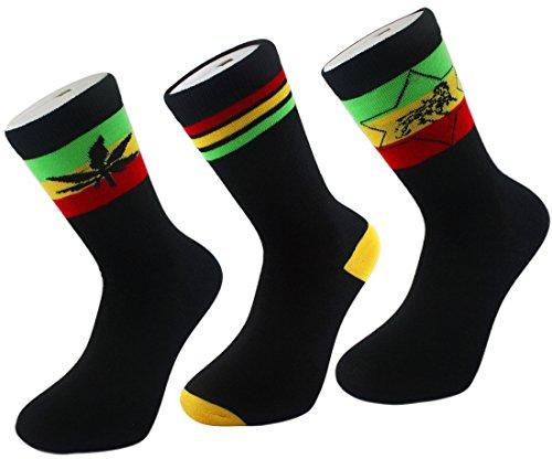 Eine Star-crew Socke (Rasta Baumwolle Crew Socken Ganja Weed Leaf Löwe X2Stripe Komfort (4Pack) (UK 6–11/EUR 39–45) Gr. Einheitsgröße, Schwarz - Stripe / Lion / Lion (3 pack))