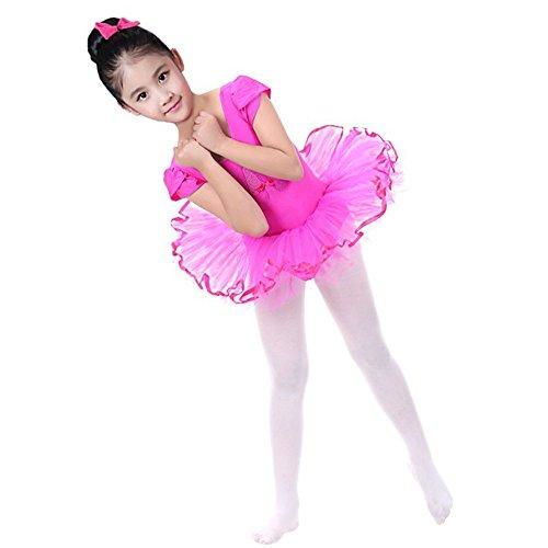 Lazzboy Karneval Kostüme Kleinkind Mädchen Gaze Trikot Ballett Body Dancewear Kleid Kleidung Outfits(Höhe130,Rosa)