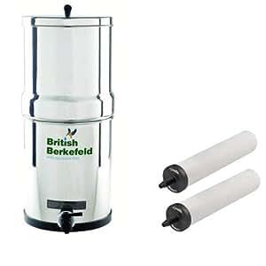 Doulton Purificateur d'eau en acier inoxydable fonctionnant par gravité avec filtres Super Sterasyl ATC