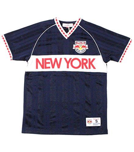Mitchell & Ness Herren Penalty Kick V-Ausschnitt Tee New York Red Bulls 430TA-RD1, Herren, Marineblau/rot, Small New York Tee