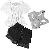 Snsunny Damen 3 Teile Sport Set Trainingsanzug Sport BH Mesh Top und Shorts Set Yoga Outdoor Beiläufig Jogging Sportkleidung