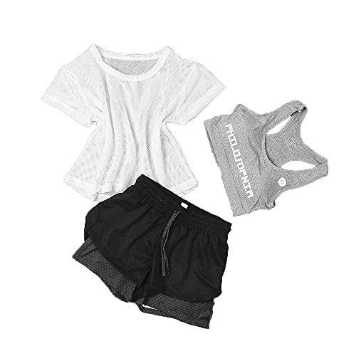 Snsunny Damen 3 Teile Sport Set Trainingsanzug Sport BH Mesh Top und Shorts Set Yoga Outdoor Beiläufig Jogging Sportkleidung(S/Gewicht:40-45kg, Farbe 3)