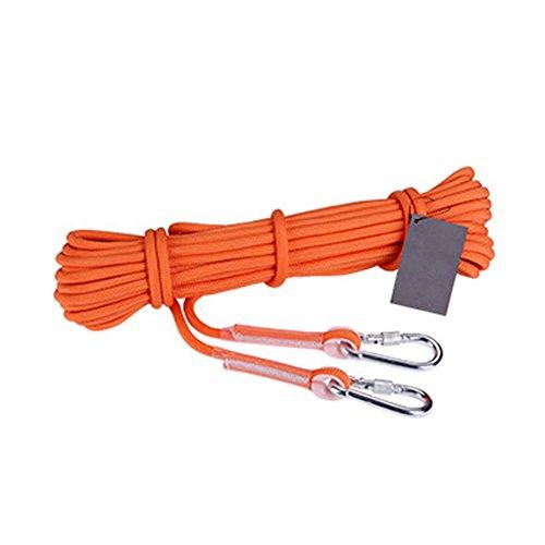 Homdsim professionali abseiling outdoor corda per arrampicata alpinismo corda corda con moschettoni diametro 9.5mm-50metri, 100piedi, orange, 50 feet