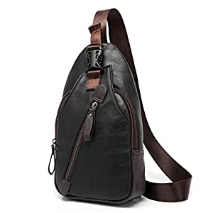 LMJ Cool Men Leather Casual Cross Body Chest Pack Camping Hiking Shoulder Sling Bag (Black)