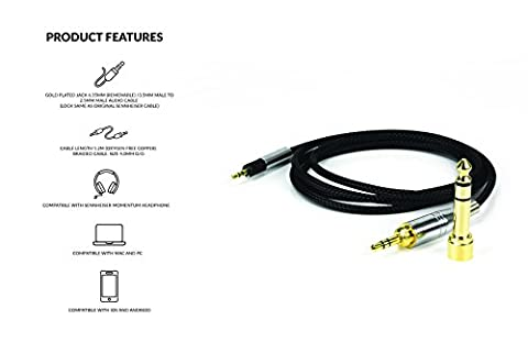 1.2m NEW Replacement Audio upgrade Cable Lead For Sennheiser Momentum HD598 HD558 HD518 Headphones over-Ear On-Ear Headphone
