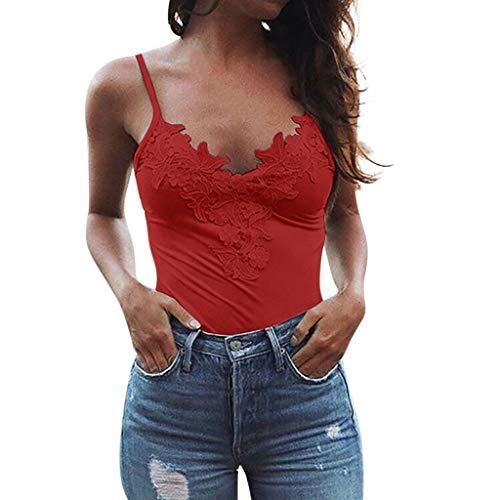 Fannyfuny Damen Tee,Mode Frau Casual Elegant Blusen V-Ausschnitt Spitze Sexy Sling Tops Casual Elegant Blusen T-Shirt Sport Weste S-XXL -