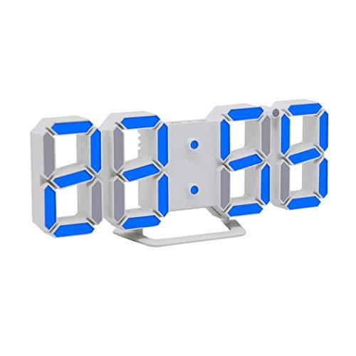 STRIR 3D Despertador Digital, LED Despertador Electrónico, Reloj Digital Moderno, Reloj de Pared, Visualización de hora 12h / 24h con Función de Alarma, Snooze y Memoria Automática, Luminancia Ajustable con 3 Niveles (Azul)