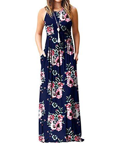 Kidsform Maxi Kleid Damen Casual Sommerkleid Kurzarm Lange Kleid Mit Tasche Lose Strandkleider HoheTaille - Lang Den Für Kleid Sommer