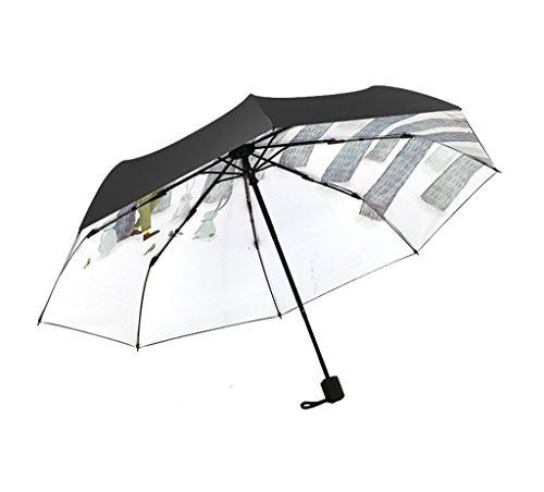 Folding Schnell Trocknend Reise Regenschirm Windproof Anti-UV Ms Sonnen Regenschirm Handbemalt White Birch Forest Dreifach Umbrella 8 Fiberglas Ribs