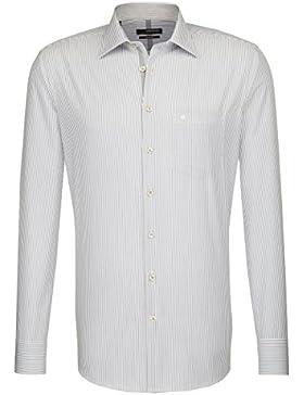 Seidensticker Herren Langarm Hemd Splendesto Regular Fit Kent Tape grau / weiß gestreift mit Patch 188366.34
