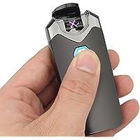 Encendedor Electrico, LAZU-lighter Mechero Eléctrico Doble Arco Mechero Eléctrico USB Encendedor Electronico Recargable Sin Llama (Negro)
