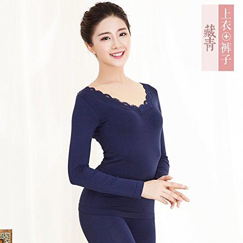 und Winter thermal Unterwäsche Sets mit Rundhalsausschnitt und body-kit für größere Mädchen weibliche niedrigen Choo Choo Hosen sind , Yi , Navy Blue (Kinder-halloween-kostüme Lieferung Am Nächsten Tag)