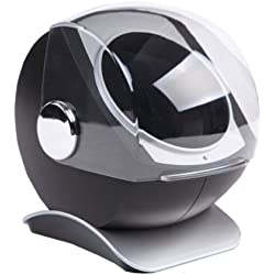 CKB Ltd Black Dome Automatic Single Watch Winder with Clockwise or Anticlockwise Switch 4 Timer Programs - Premium Silent Motor Movement - High Gloss Carbon Style Finish KA083