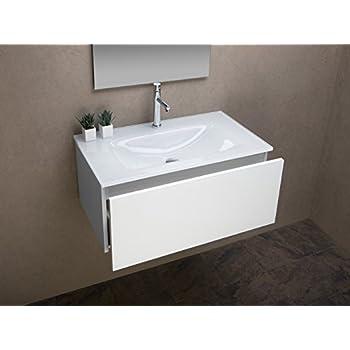 badezimmer schrank mit ultraclear glas waschbecken wei lackiert cm 81 k che haushalt. Black Bedroom Furniture Sets. Home Design Ideas