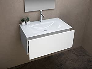 Arredo bagno mobile bagno da cm 80 con lavabo lavandino in - Lavandino in vetro bagno ...