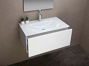 Arredo bagno mobile bagno da cm 80 con lavabo lavandino in vetro entrachiaro bianco - Lavandino bagno vetro ...