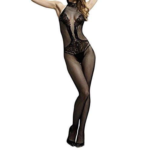❤️• •❤️ LUCKYCAT Dessous Pyjamas Womens Siamese Dessous Floral Open Mesh BodyStrümpfe Schwarz Bodysuit erotische Dessous Unterwäsche Pyjamas (A) (Mesh-bustier Floral)