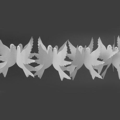 BUDILA® Hochzeitsgirlande Tauben weiss 6m lang