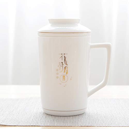 Winpavo Becher Kaffeetassen Tassen Thermosgefäße Becher Mit Deckel Filter Keramik Teetasse Persönlichkeit Große Kapazität Tasse Büro Teetasse, Blume Guten Mond Runde Ascot Cup Ascot-cup