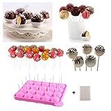 Silikon Cake Pop Backform -20 Runde BPA-Frei Lollipop Silikonform Form & Ice Cube Tabletts + 120 Sticks Stiele für Cupcake, Süßigkeiten, Gelee und Schokolade(Rosa)
