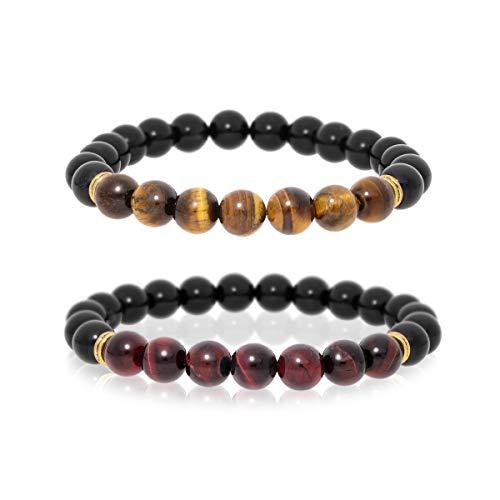 ZenNetre | 2 Bracelets Couple – Perles en Oeil de Tigre, Oeil de Taureau et Onyx – Bijoux Anti Stress – Bénéficiez des vertus du Pouvoir des Pierres Naturelles Lithothérapie – Idée Cadeau St Valentin