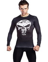 Cody lundin Hombres–Held Fitness Camiseta de Hombres Compresión correr Movimiento Entrenamiento Camiseta de manga larga Skull–Camiseta de Impreso