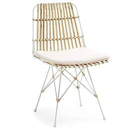 LF – Chaise Lot de 2 chaises Isnaia métal et rotin